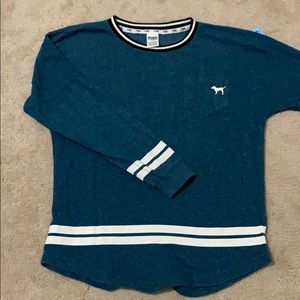 PINK Signature Sweatshirt Teal White Trim EUC. S